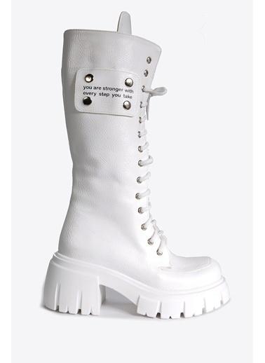 Vizon Ayakkabı Çizme Beyaz